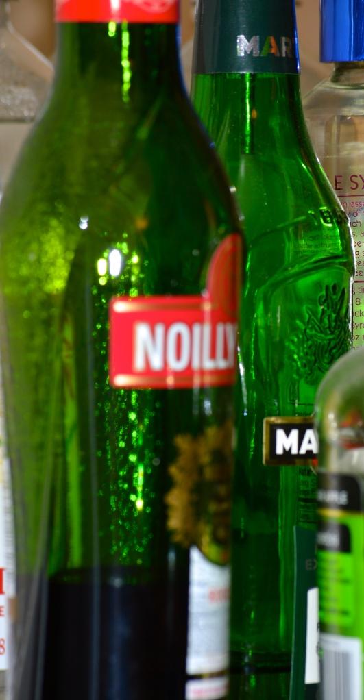 Green Glass Vermouth Bottles.